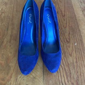 Qupid Sapphire Blue Faux Velvet Platform Heels